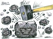 "cartoon of sledge hammer hitting coal with ""full time decent jobs"" written on it"