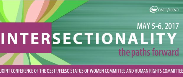 designed banner announcing the Intersectionality conference and meeting dates.