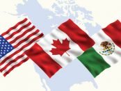 An image of three flags (Canada, US, and Mexico) sitting on top of an outline of North America map.