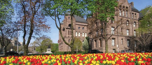 Photo of the Queen's Park building with bloomed tulips in the foreground