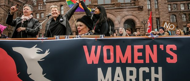 Photo of the Women's March at Queen's Park, Toronto 2017.