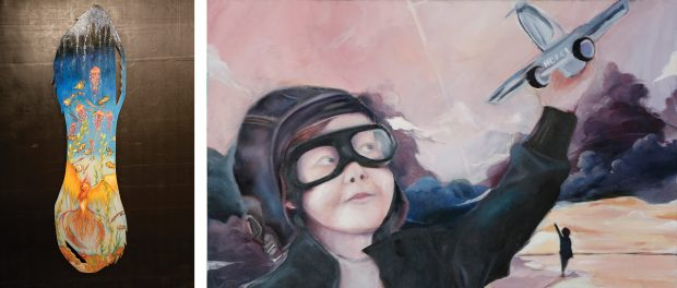 artwork belonging to the two Student Achievement Awards provincial winners