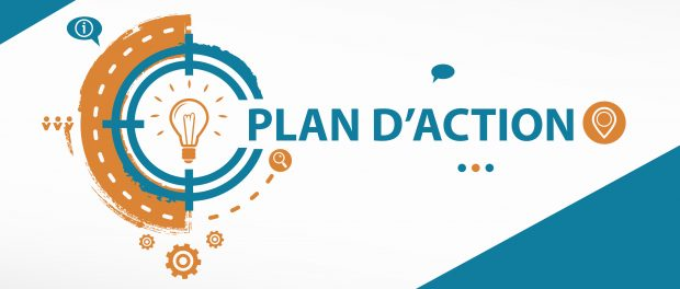 Graphic with the words Plan d'action