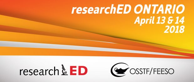Image announcing the dates of the next researchED Ontario conference In April