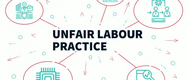 Illustration with the words unfair labour practices