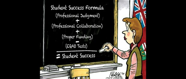 Cartoon illustration of a teacher at a chalkboard writing out the equation for The Student Success Formula