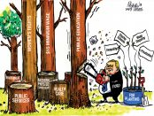 Cartoon illustration of Doug Ford using a chainsaw to cut down a bunch of trees that symbolize items such as public education