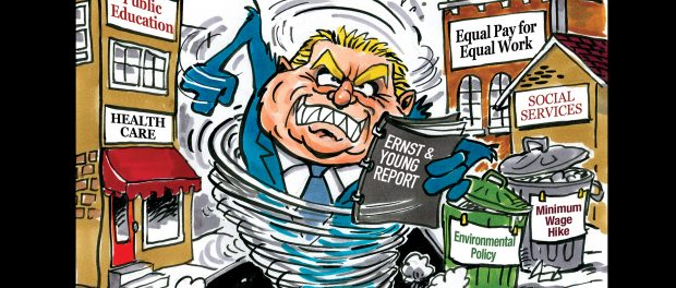 Cartoon of what an image of Doug Ford looking and acting like a Tasmanian devil