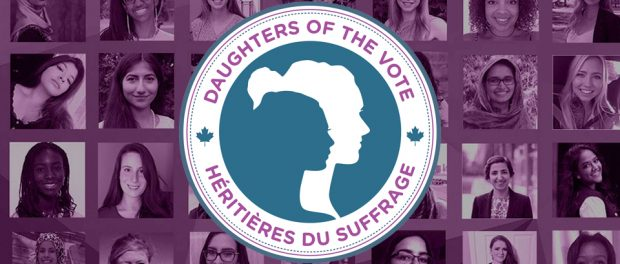 Daughters of the vote logo with the background of young women
