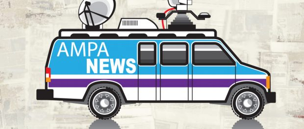 Image of news van with AMPA news written on it