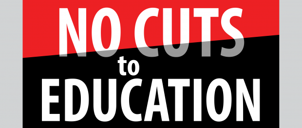 No cuts to education sign