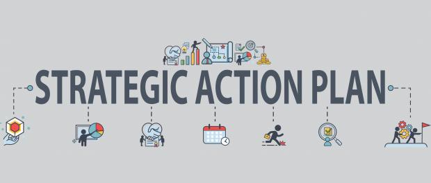 communications icons surrounding the wording Strategic Action Plan