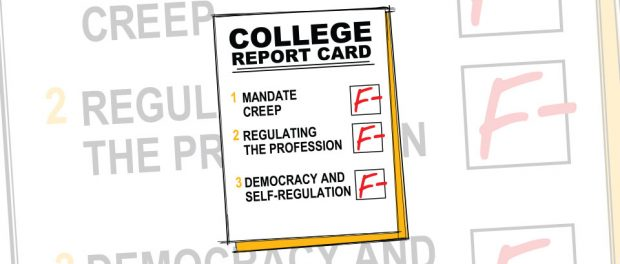 Cartoon: College report card with F minus grades