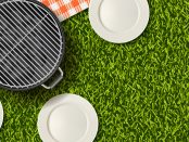 Image of green grass with plates, a grill and a red and white checkered blanket on it.