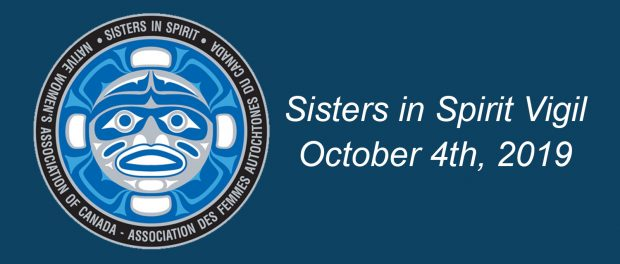 Image of the Native Women's Association of Canada Indigenous logo with the words Sisters in Spirit Vigil