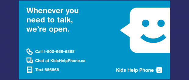 Kids help phone logo along with a list of all contact info