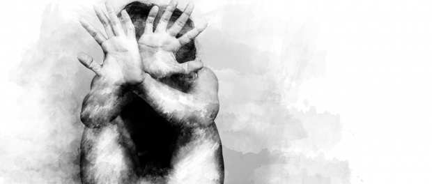 black and white illustration of mans hands trying to protect himself