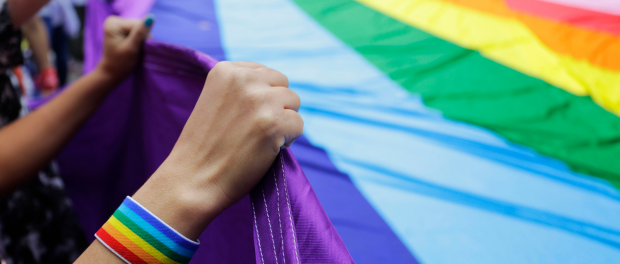 People at gay pride parade hold up a giant rainbow flag