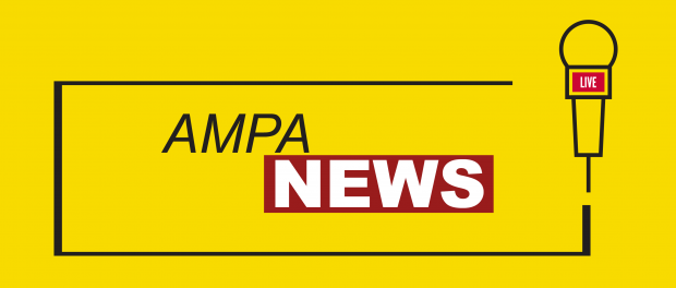 AMPA News with graphic of a microphone