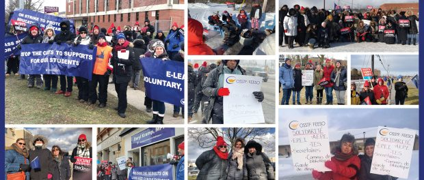 Photo collage of striking OSSTF/FEESO members