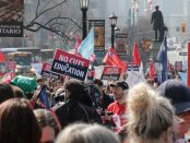 Photo of protesters at Queen's Park against government cuts April 2019