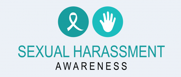 """Illustration: Ribbon and hand with the words """"Sexual Harassment Awareness"""""""