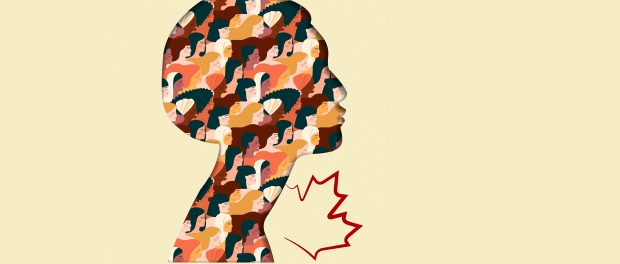 Illustration of a woman's head silhouette filled with images of women from other ethnicities