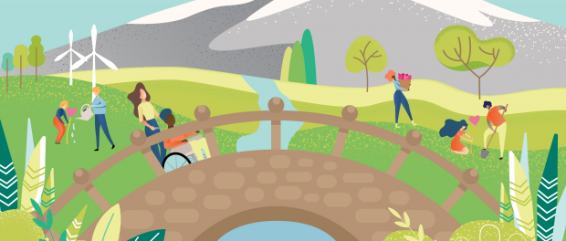 Illustration of people walking in a bright colourful park