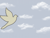 Image of a dove's flying amongst the clouds