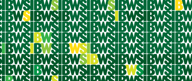 Image with the lettering WSIB repeated in green and yellow colours