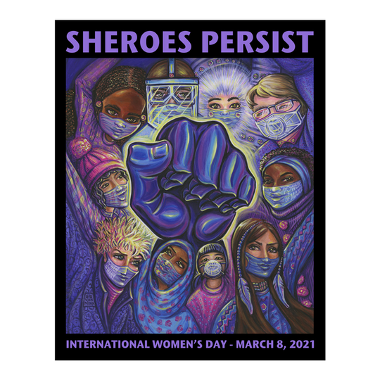 Image of the English version of the International Women's Day poster