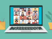 Vector graphic of a laptop screen with people meeting online