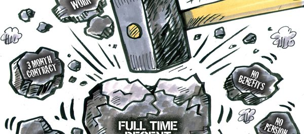 """cartoon of sledge hammer hitting coal with """"full time decent jobs"""" written on it"""