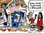 Cartoon illustration of Premiere Wynne and Minister of Education Hunter holding a can of paint marked Bill 92