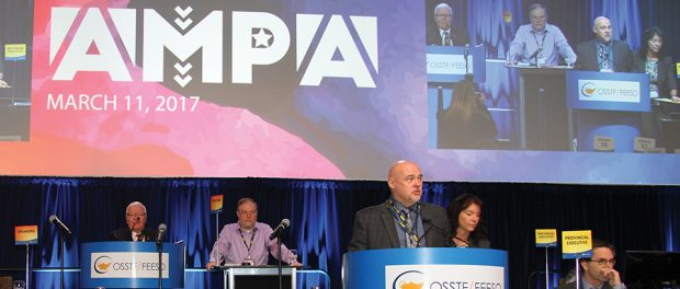 Photo of President Paul Elliott delivering his final opening address to AMPA attendees