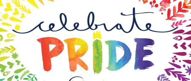 Colourful illustration that says celebrate PRIDE