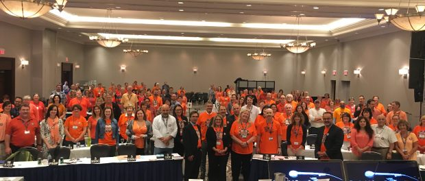 Photo of OSSTF/FEESO Provincial Office staff members wearing orange