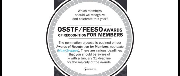 Image of the announcement for OSSTF/FEESO member awards
