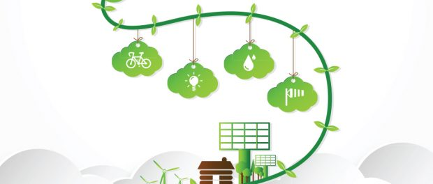 Image of an illustration of a green vine with cloud shapes hanging from it