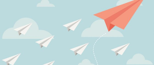 Illustration of an image of paper airplanes.