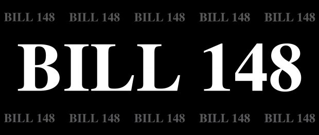 black background with BILL 148 written all over it