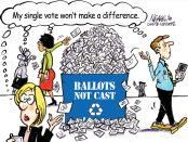 Cartoon illustration of people walking by a recycling bin labelled Ballots Not Cast