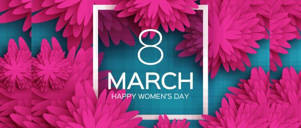 Image displaying the date March 8 and Happy Women's Day surrounded by pink flowers
