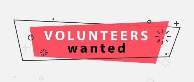 Image with the words Volunteers wanted