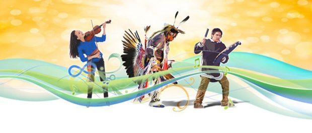 Illustration of Indigenous people in traditional clothing as well as contempory
