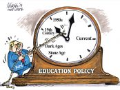 Cartoon illustration of a large analogue clock with with Doug Ford trying to pull it backwards