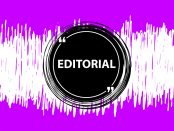 Graphic of sound waves with a black circle in the middle with the word editorial
