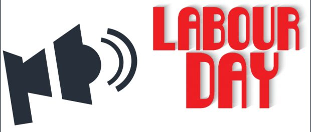 graphic of mega phone with the words Labour Day beside it