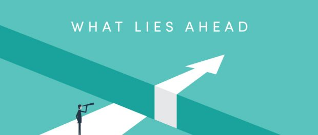 """Arrow graphic with the words """"What lies ahead"""""""