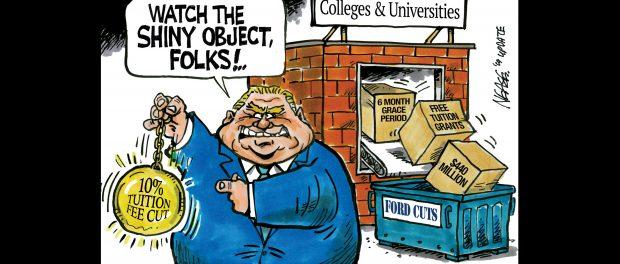 "Cartoon of Doug Ford waving a shiny object saying ""watch the shiny object folks"""
